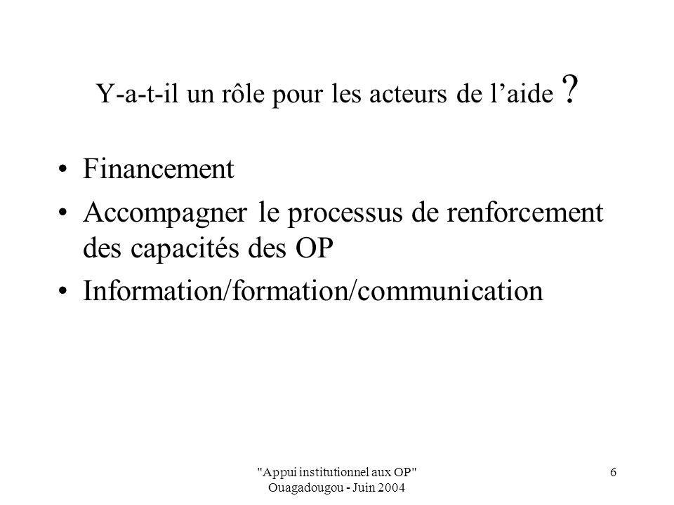 Appui institutionnel aux OP Ouagadougou - Juin 2004 6 Y-a-t-il un rôle pour les acteurs de laide .