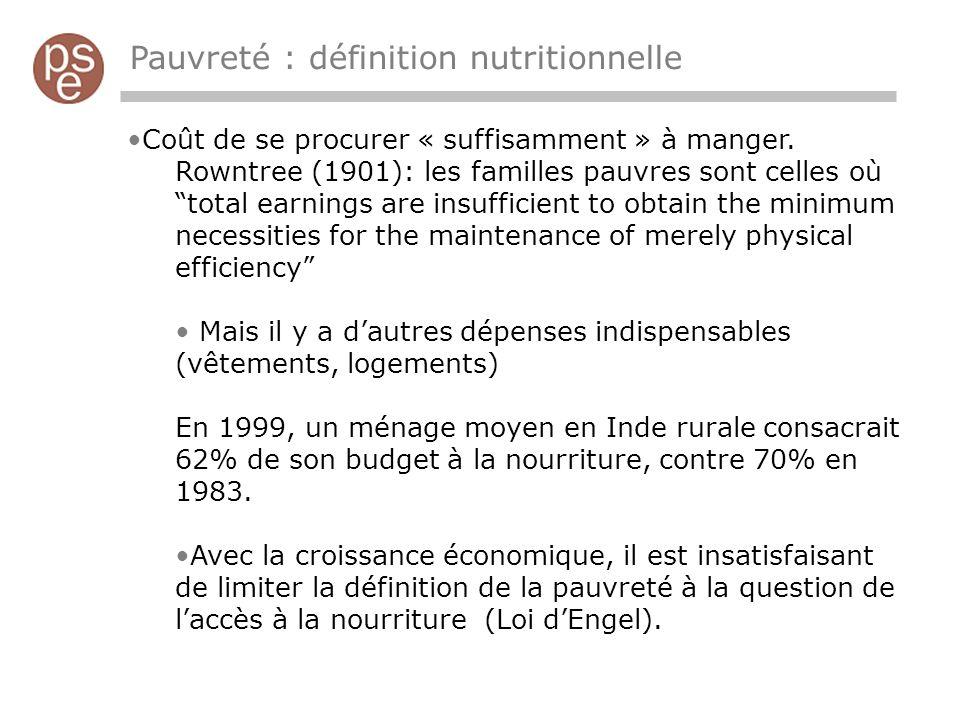 Pauvreté : définition nutritionnelle Coût de se procurer « suffisamment » à manger.