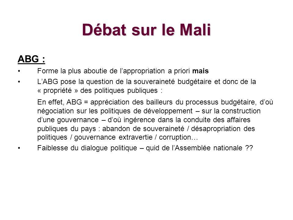 Débat sur le Mali ABG : Forme la plus aboutie de lappropriation a priori mais LABG pose la question de la souveraineté budgétaire et donc de la « propriété » des politiques publiques : En effet, ABG = appréciation des bailleurs du processus budgétaire, doù négociation sur les politiques de développement – sur la construction dune gouvernance – doù ingérence dans la conduite des affaires publiques du pays : abandon de souveraineté / désapropriation des politiques / gouvernance extravertie / corruption… Faiblesse du dialogue politique – quid de lAssemblée nationale ??