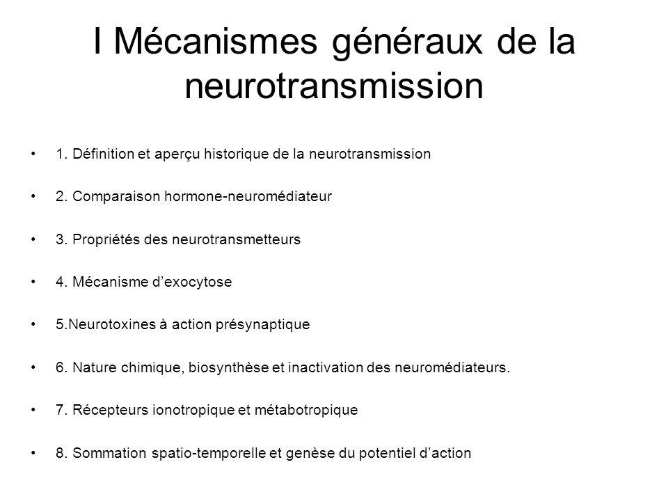 I Mécanismes généraux de la neurotransmission 1. Définition et aperçu historique de la neurotransmission 2. Comparaison hormone-neuromédiateur 3. Prop