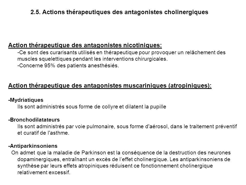 Action thérapeutique des antagonistes nicotiniques: -Ce sont des curarisants utilisés en thérapeutique pour provoquer un relâchement des muscles squel