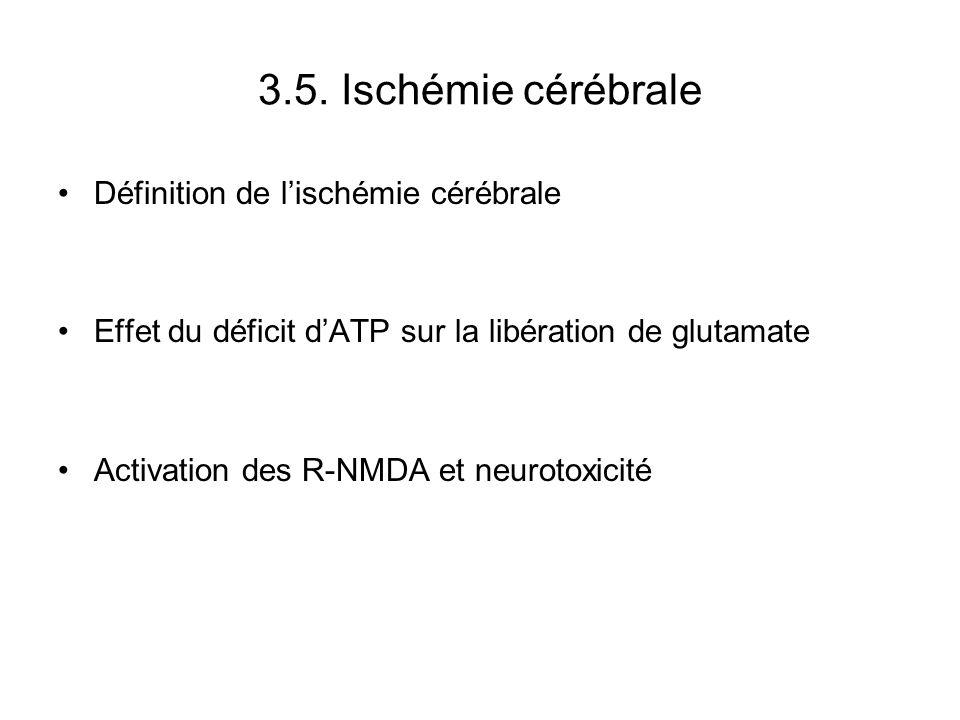 3.5. Ischémie cérébrale Définition de lischémie cérébrale Effet du déficit dATP sur la libération de glutamate Activation des R-NMDA et neurotoxicité