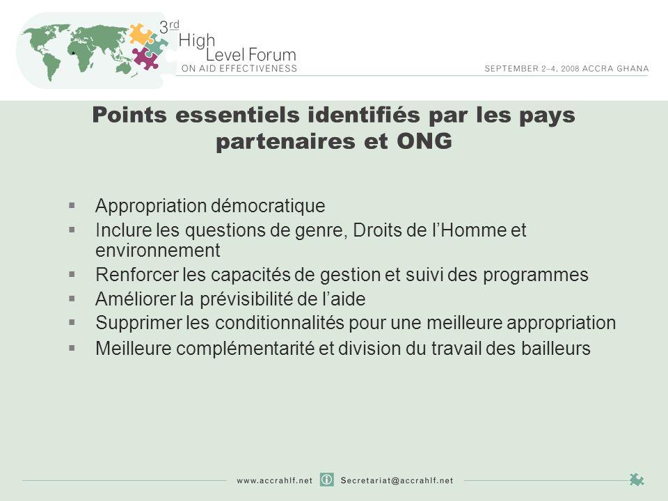 Objectifs: Augmenter la mise en place de des principes de la déclaration de Paris, afin datteindre les objectifs fixés en 2005 Compléter (pas remplacer) la DP Identifier les actions clés qui peuvent aider à atteindre une meilleure efficacité de laide Répondre aux problèmes émergeants et aux changements dans larchitecture de laide Le programme daction dAccra (AAA)