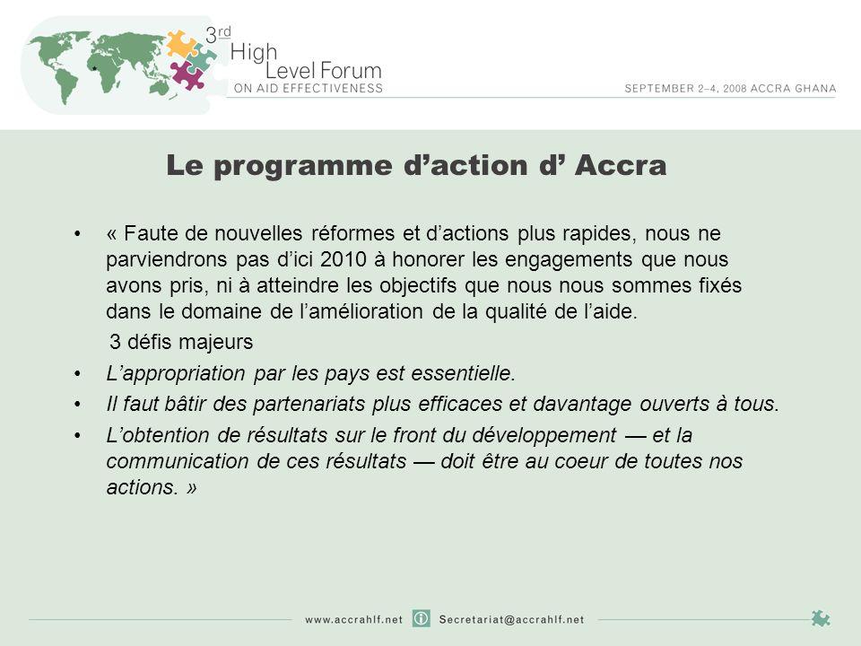 Le programme daction d Accra « Nous allons réduire la fragmentation de laide en améliorant la complémentarité entre les efforts des donneurs ainsi que la répartition des tâches entre les donneurs […].