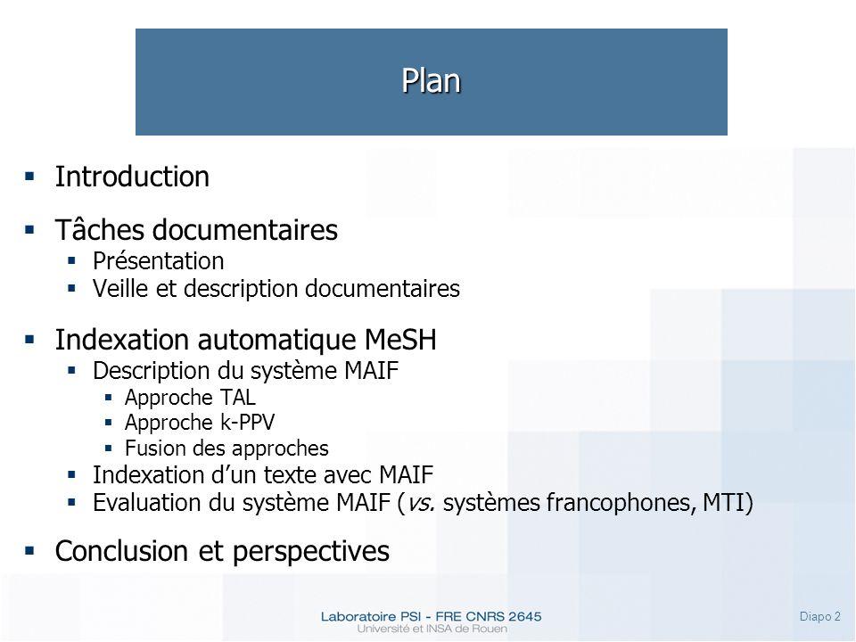 Diapo 2 Plan Introduction Tâches documentaires Présentation Veille et description documentaires Indexation automatique MeSH Description du système MAI