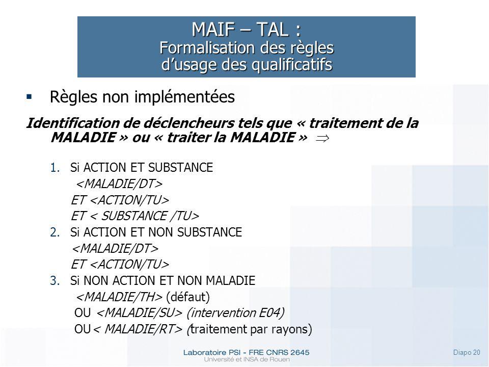Diapo 20 MAIF – TAL : Formalisation des règles dusage des qualificatifs Règles non implémentées Identification de déclencheurs tels que « traitement d