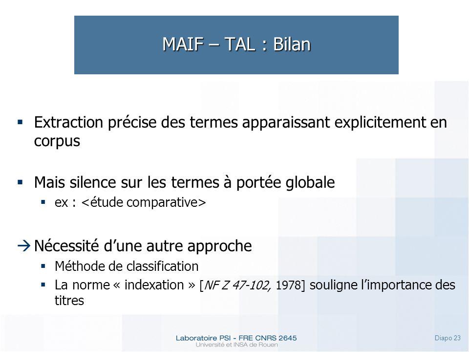 Diapo 23 MAIF – TAL : Bilan Extraction précise des termes apparaissant explicitement en corpus Mais silence sur les termes à portée globale ex : Néces