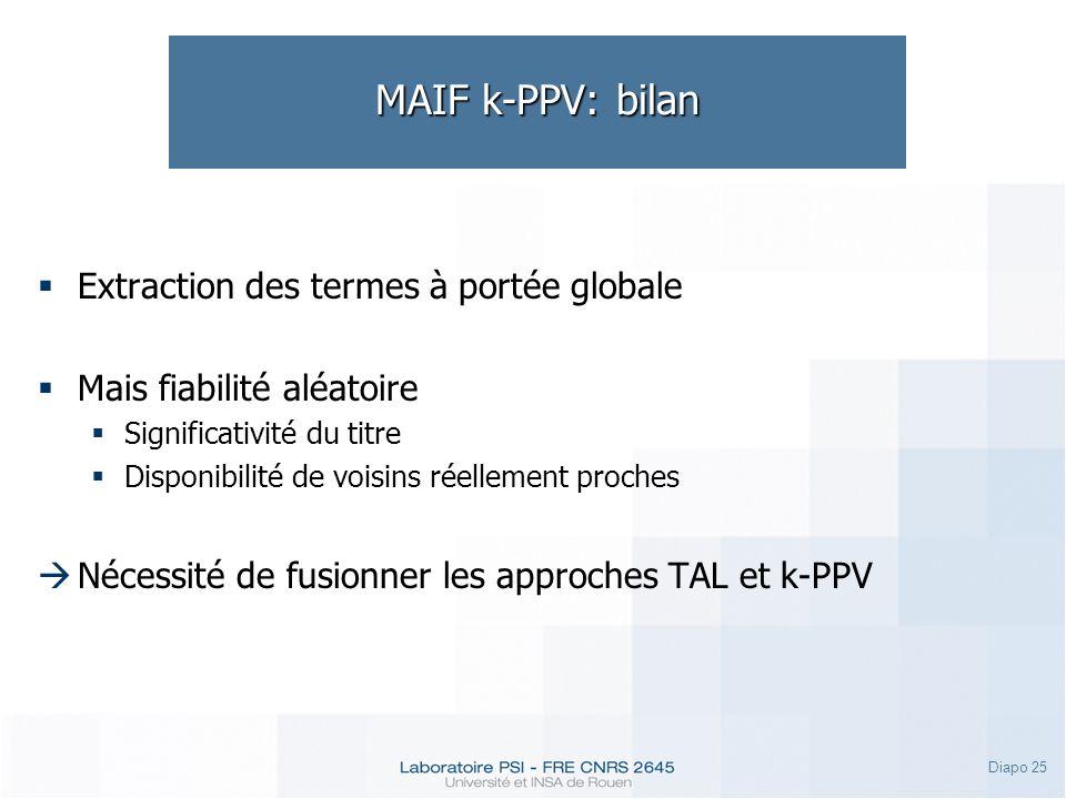 Diapo 25 MAIF k-PPV: bilan Extraction des termes à portée globale Mais fiabilité aléatoire Significativité du titre Disponibilité de voisins réellemen