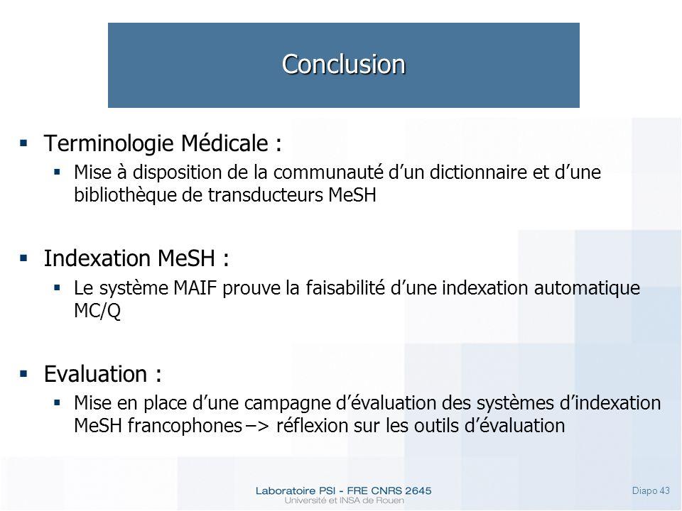 Diapo 43 Conclusion Terminologie Médicale : Mise à disposition de la communauté dun dictionnaire et dune bibliothèque de transducteurs MeSH Indexation