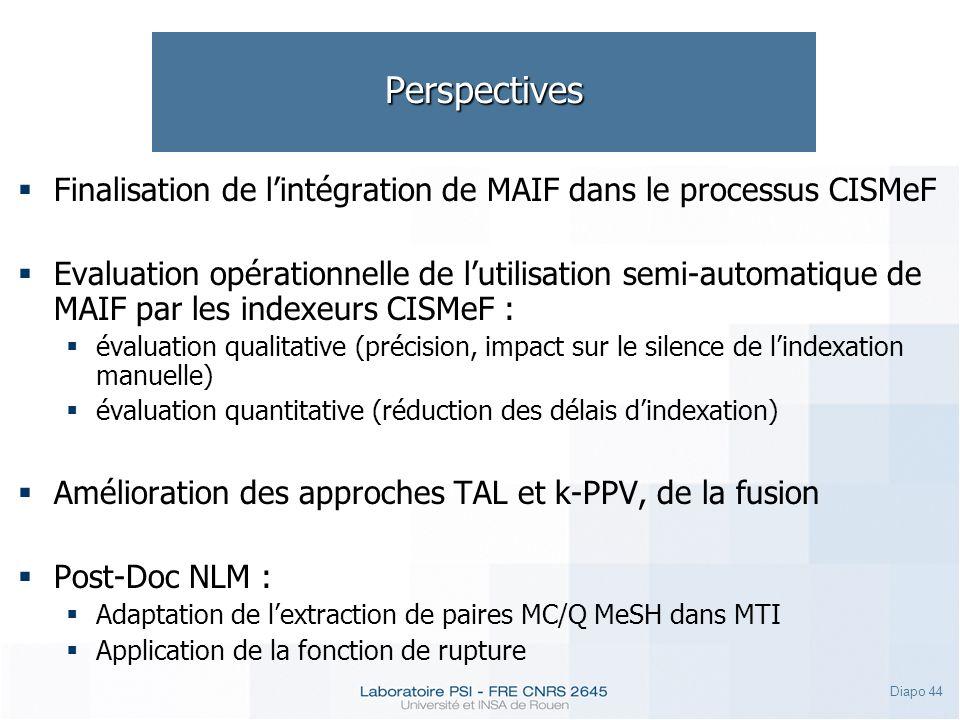 Diapo 44 Perspectives Finalisation de lintégration de MAIF dans le processus CISMeF Evaluation opérationnelle de lutilisation semi-automatique de MAIF