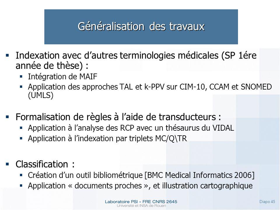 Diapo 45 Généralisation des travaux Indexation avec dautres terminologies médicales (SP 1ére année de thèse) : Intégration de MAIF Application des app