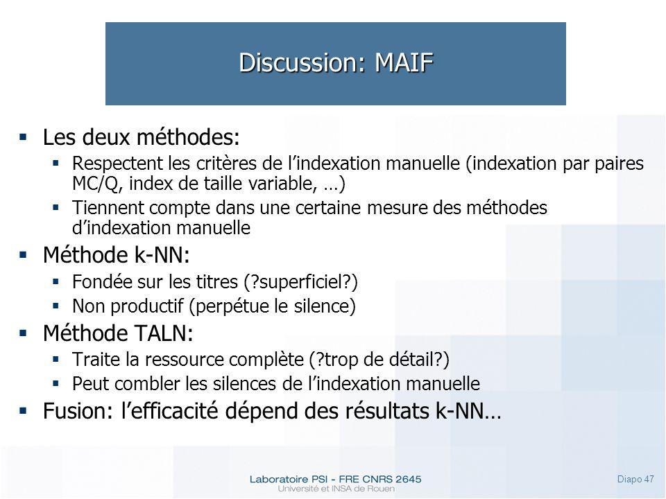 Diapo 47 Discussion: MAIF Les deux méthodes: Respectent les critères de lindexation manuelle (indexation par paires MC/Q, index de taille variable, …)