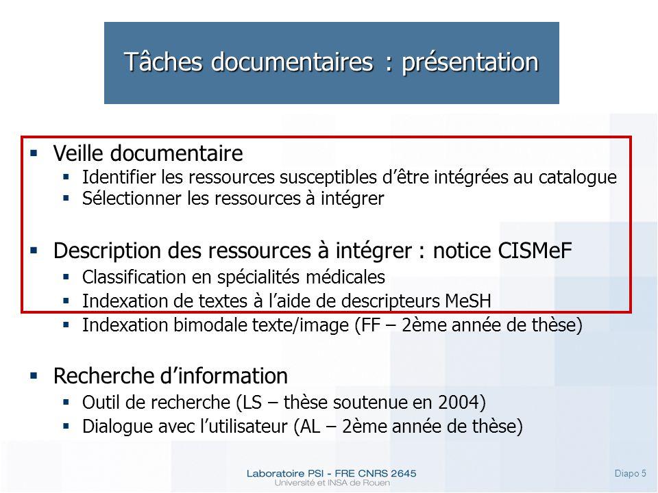 Diapo 6 Tâches documentaires : veille Conception du Veilleur Automatique CISMeF (CVA) : formalisation de la veille manuelle.