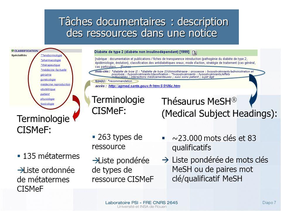 Diapo 7 Tâches documentaires : description des ressources dans une notice Tâches documentaires : description des ressources dans une notice Thésaurus