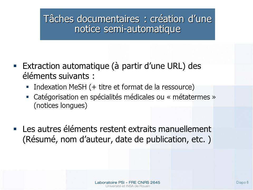 Diapo 8 Tâches documentaires : création dune notice semi-automatique Extraction automatique (à partir dune URL) des éléments suivants : Indexation MeS