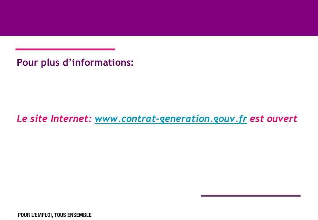Pour plus dinformations: Le site Internet: www.contrat-generation.gouv.fr est ouvertwww.contrat-generation.gouv.fr