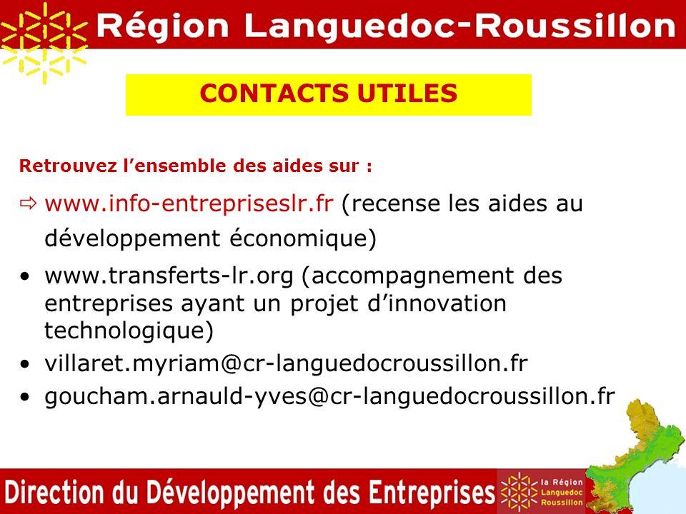 CONTACTS UTILES Retrouvez lensemble des aides sur : www.info-entrepriseslr.fr (recense les aides au développement économique) www.transferts-lr.org (a