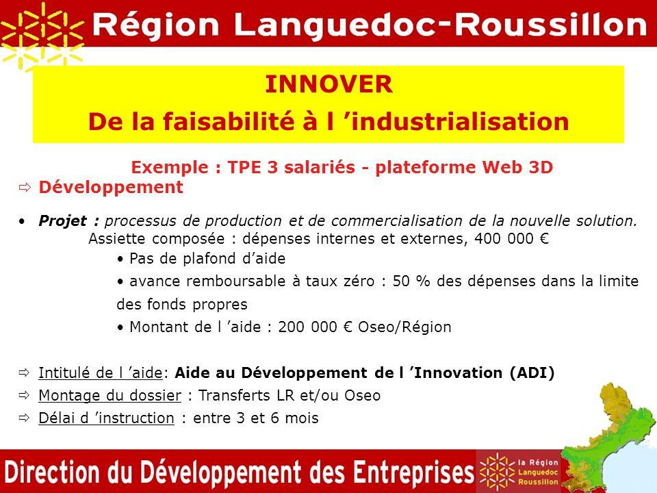 Exemple : TPE 3 salariés - plateforme Web 3D Développement Projet : processus de production et de commercialisation de la nouvelle solution. Assiette
