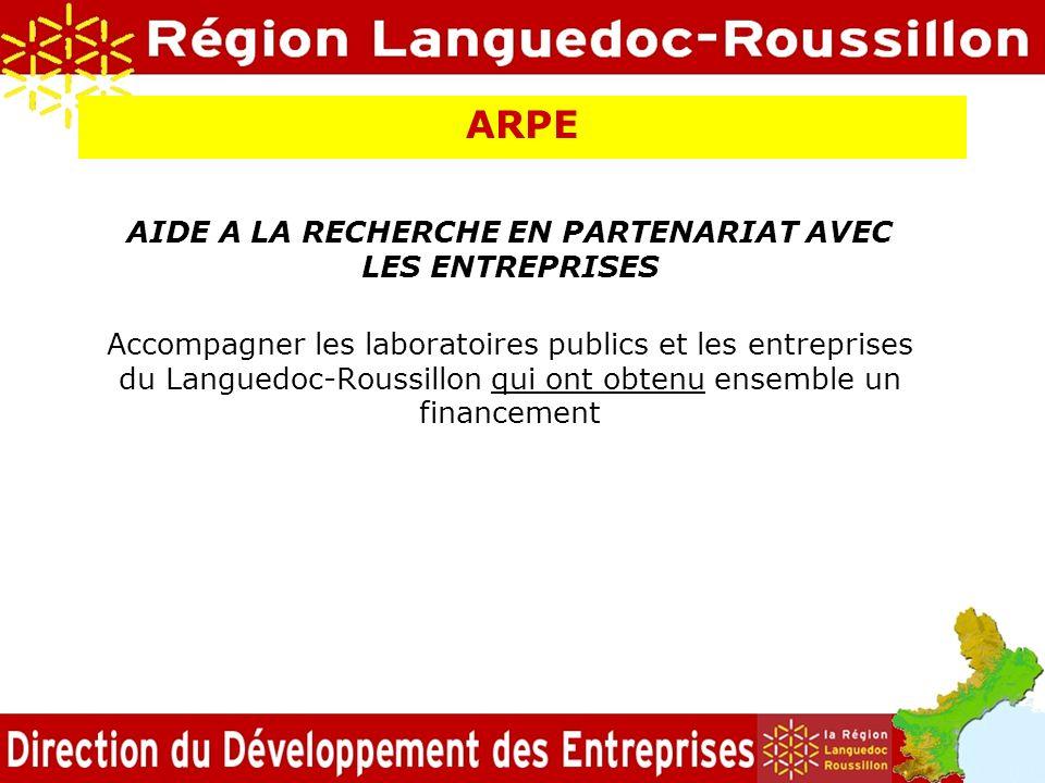 ARPE AIDE A LA RECHERCHE EN PARTENARIAT AVEC LES ENTREPRISES Accompagner les laboratoires publics et les entreprises du Languedoc-Roussillon qui ont o