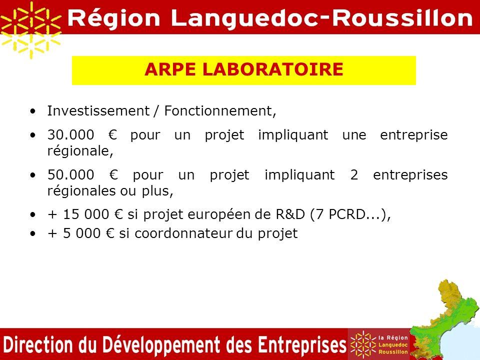 ARPE LABORATOIRE Investissement / Fonctionnement, 30.000 pour un projet impliquant une entreprise régionale, 50.000 pour un projet impliquant 2 entrep