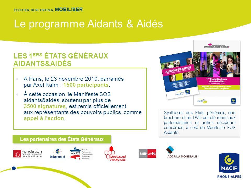 Le programme Aidants & Aidés ÉCOUTER, RENCONTRER, MOBILISER À Paris, le 23 novembre 2010, parrainés par Axel Kahn : 1500 participants.