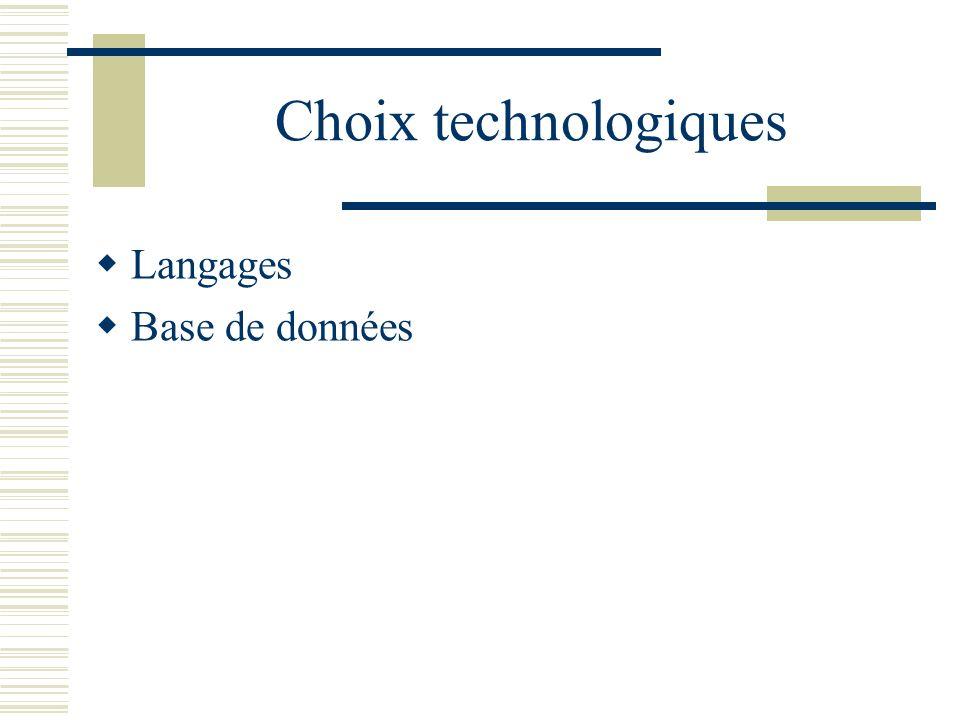 Choix technologiques Langages Base de données