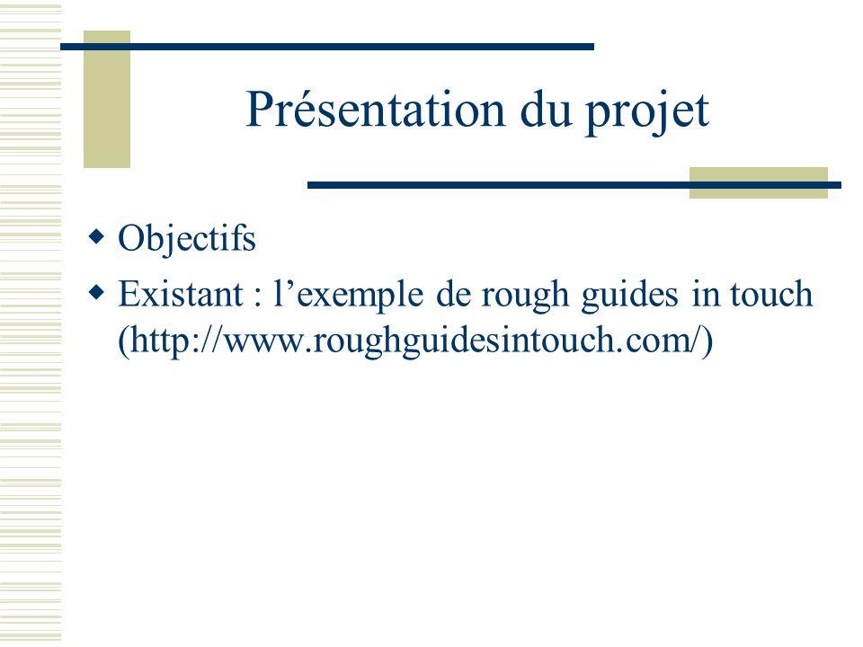 Présentation du projet Objectifs Existant : lexemple de rough guides in touch (http://www.roughguidesintouch.com/)