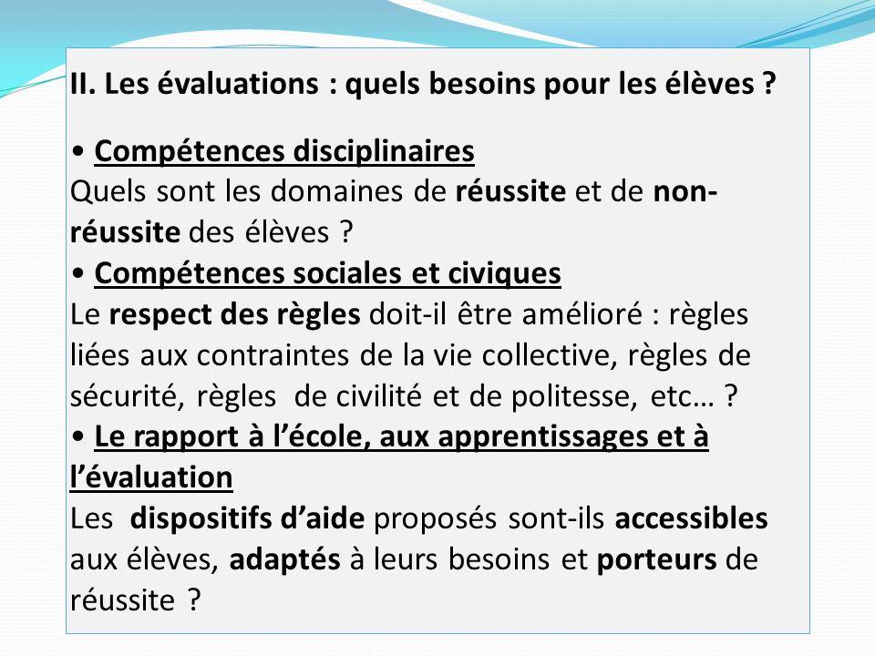 II.Les évaluations : quels besoins pour les élèves .