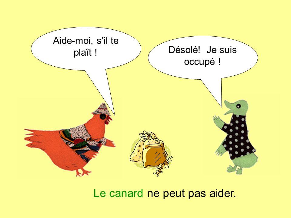 Aide-moi, sil te plaît ! Désolé! Je suis occupé ! Le canard ne peut pas aider.