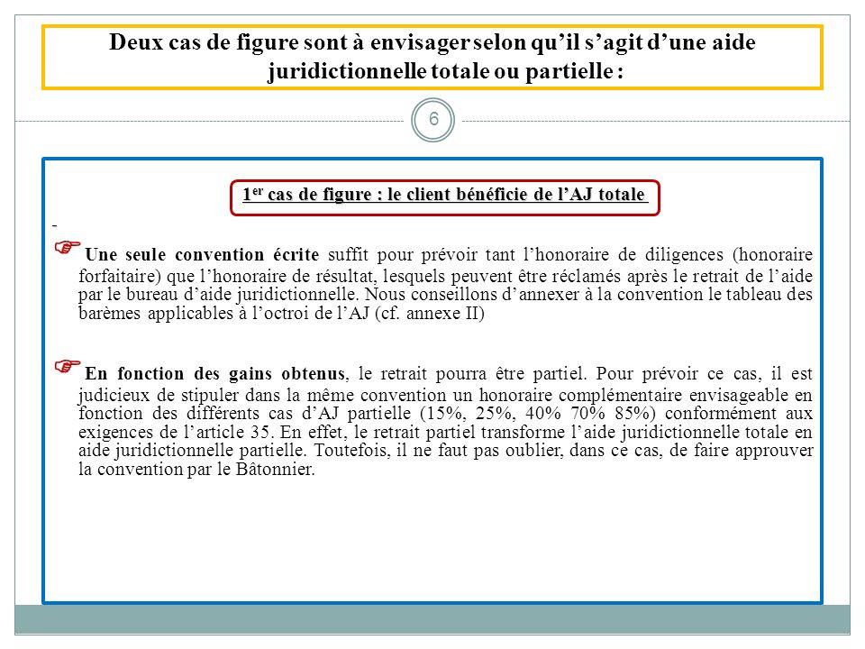 Deux cas de figure sont à envisager selon quil sagit dune aide juridictionnelle totale ou partielle : 1 er cas de figure : le client bénéficie de lAJ