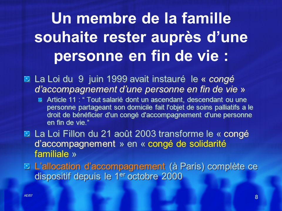 AE/07 8 Un membre de la famille souhaite rester auprès dune personne en fin de vie : La Loi du 9 juin 1999 avait instauré le « congé daccompagnement d