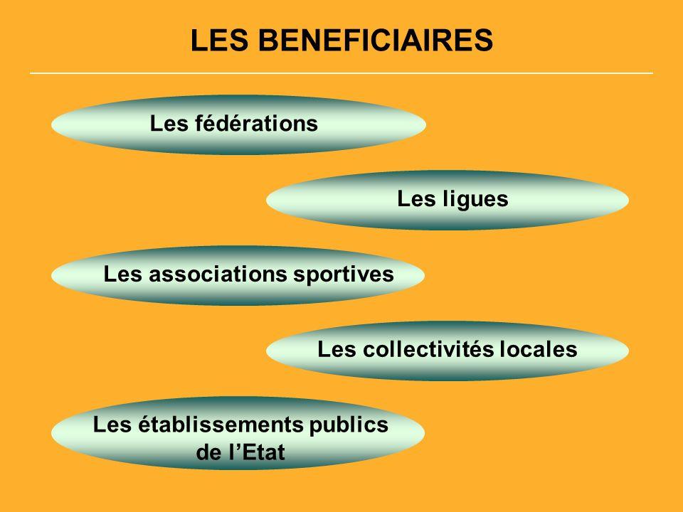 LES BENEFICIAIRES Les fédérations Les ligues Les associations sportives Les collectivités locales Les établissements publics de lEtat