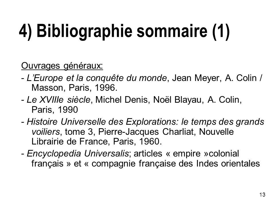 13 4) Bibliographie sommaire (1) Ouvrages généraux: - LEurope et la conquête du monde, Jean Meyer, A.