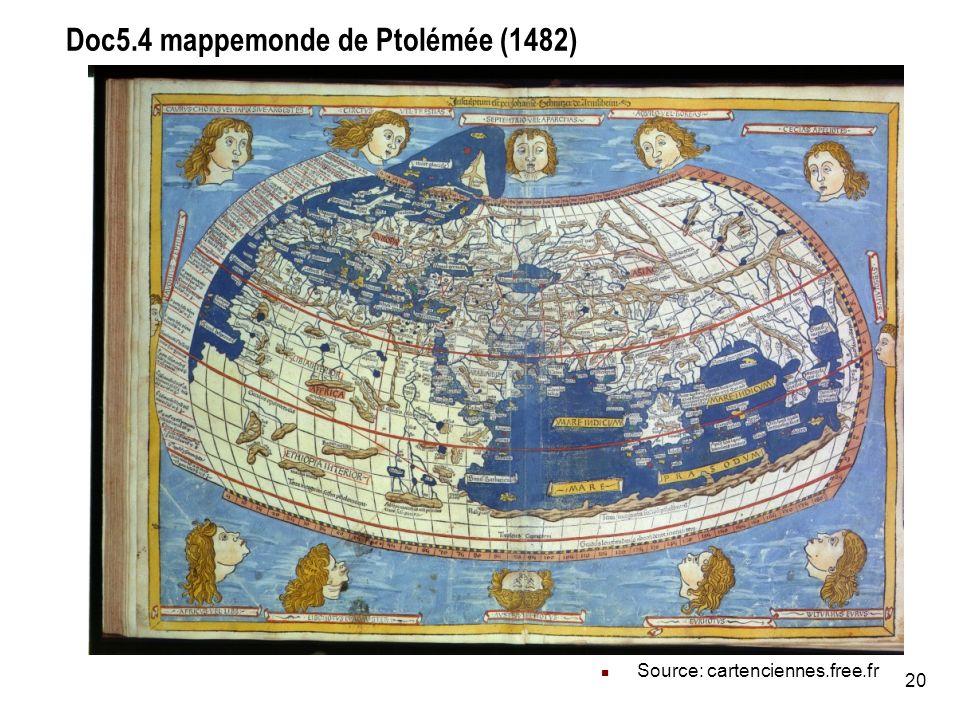 20 Doc5.4 mappemonde de Ptolémée (1482) Source: cartenciennes.free.fr