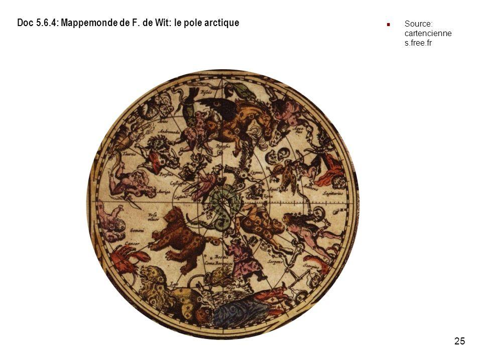 25 Doc 5.6.4: Mappemonde de F. de Wit: le pole arctique Source: cartencienne s.free.fr