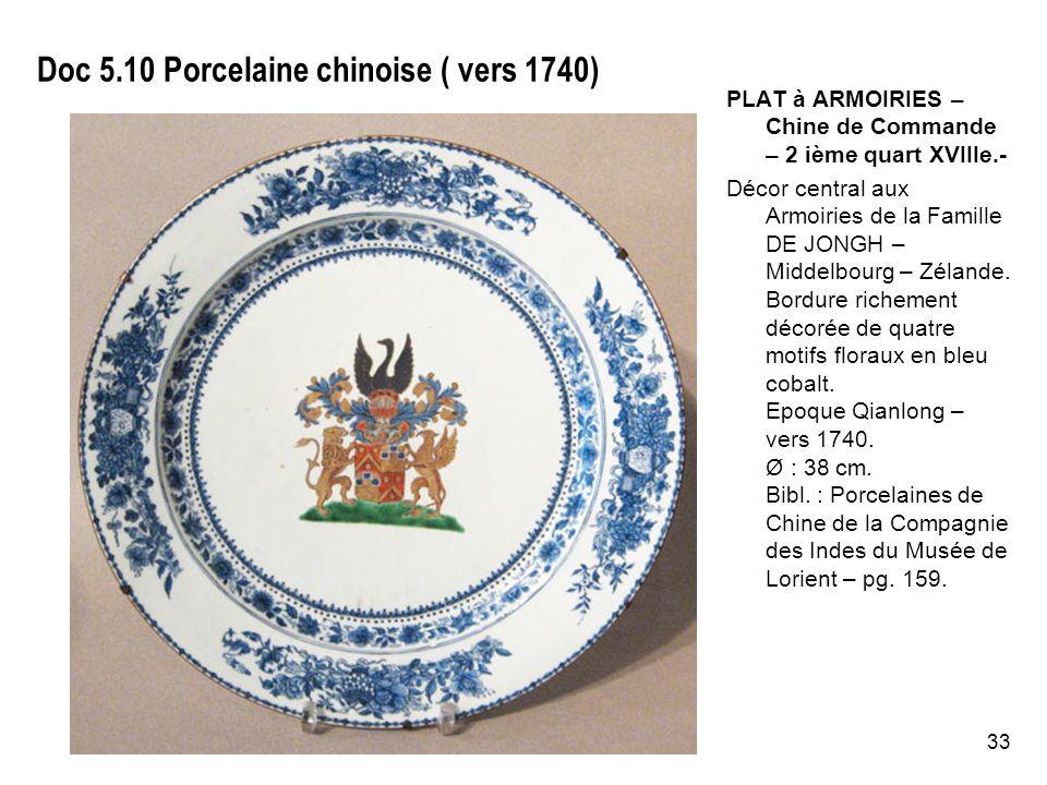 33 Doc 5.10 Porcelaine chinoise ( vers 1740) PLAT à ARMOIRIES – Chine de Commande – 2 ième quart XVIIIe.- Décor central aux Armoiries de la Famille DE JONGH – Middelbourg – Zélande.