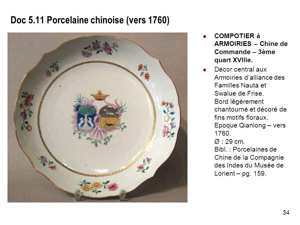 34 Doc 5.11 Porcelaine chinoise (vers 1760) COMPOTIER à ARMOIRIES – Chine de Commande – 3ème quart XVIIIe.