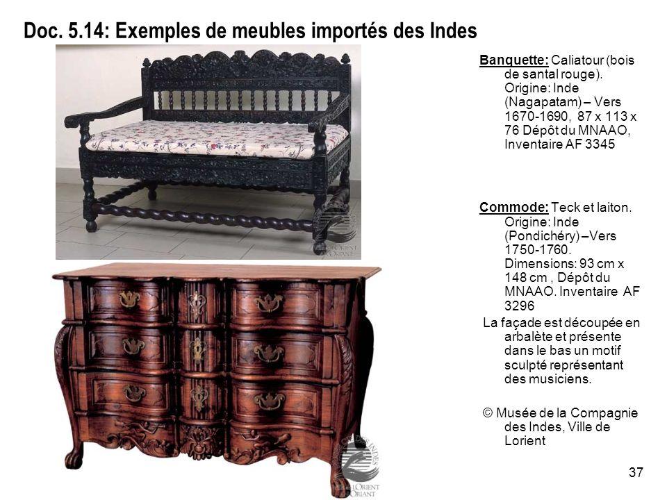 37 Doc.5.14: Exemples de meubles importés des Indes Banquette: Caliatour (bois de santal rouge).