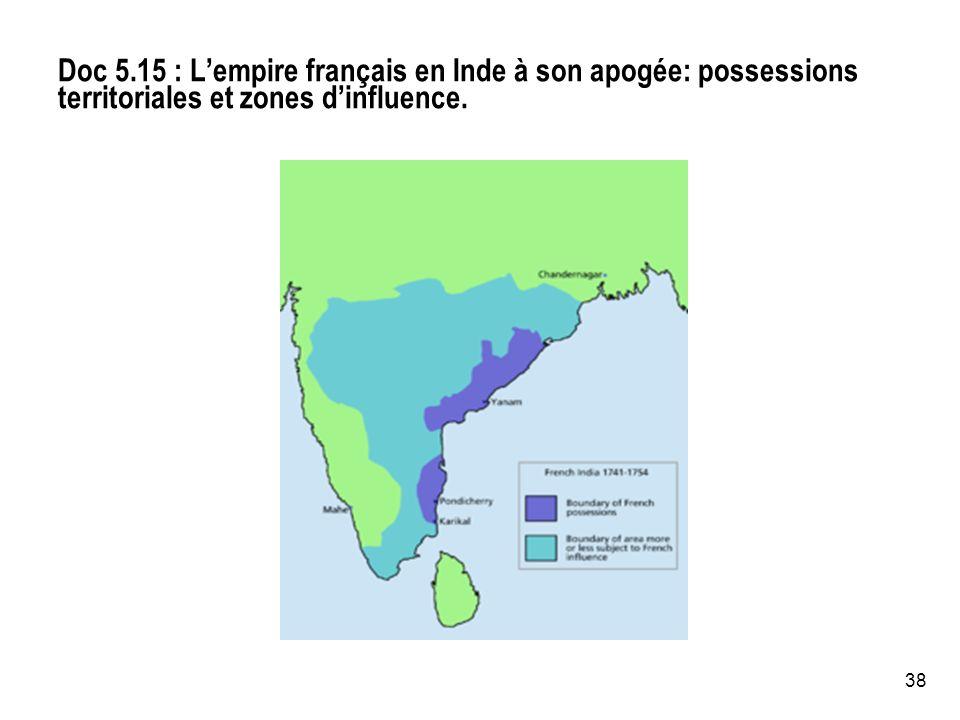 38 Doc 5.15 : Lempire français en Inde à son apogée: possessions territoriales et zones dinfluence.
