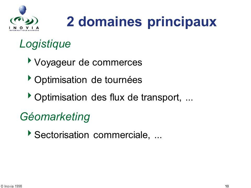 © Inovia 1998 10 2 domaines principaux Logistique Voyageur de commerces Optimisation de tournées Optimisation des flux de transport,... Géomarketing S