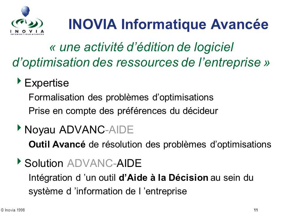© Inovia 1998 11 INOVIA Informatique Avancée « une activité dédition de logiciel doptimisation des ressources de lentreprise » Expertise Formalisation