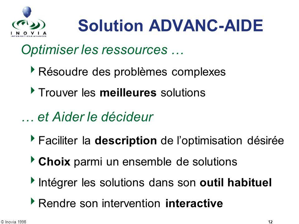 © Inovia 1998 12 Solution ADVANC-AIDE Optimiser les ressources … Résoudre des problèmes complexes Trouver les meilleures solutions … et Aider le décid