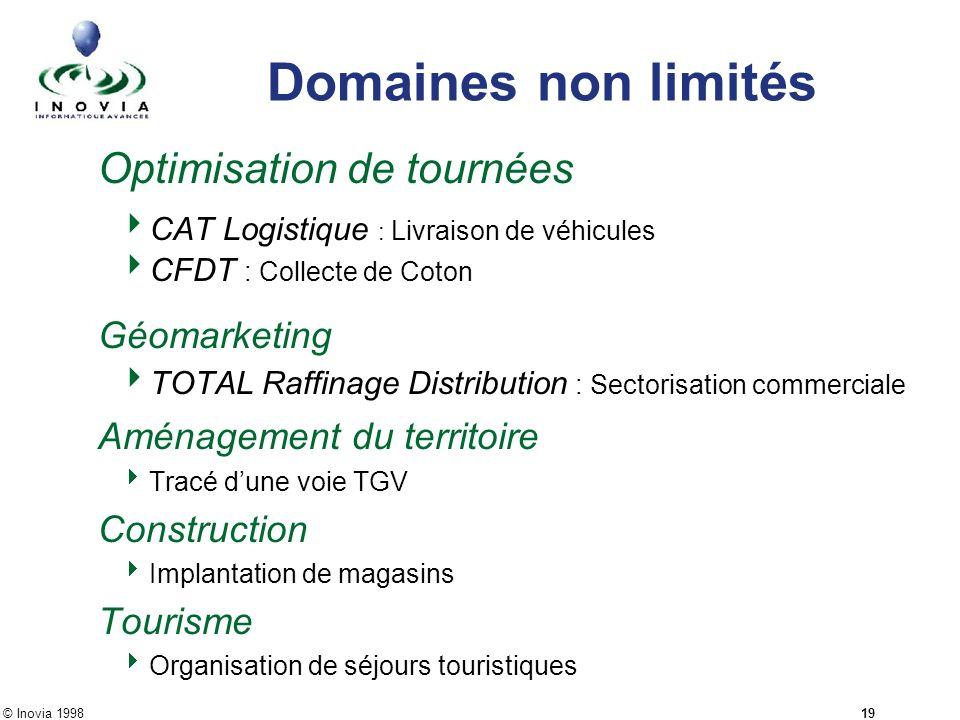 © Inovia 1998 19 Domaines non limités Optimisation de tournées CAT Logistique : Livraison de véhicules CFDT : Collecte de Coton Géomarketing TOTAL Raf