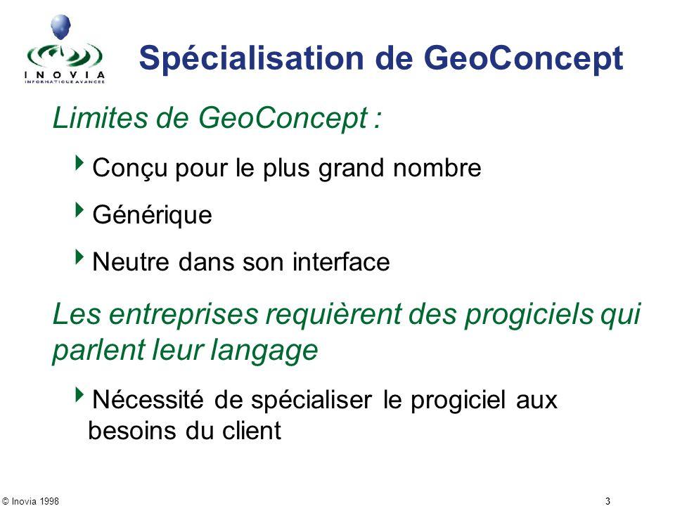 © Inovia 1998 3 Spécialisation de GeoConcept Limites de GeoConcept : Conçu pour le plus grand nombre Générique Neutre dans son interface Les entrepris