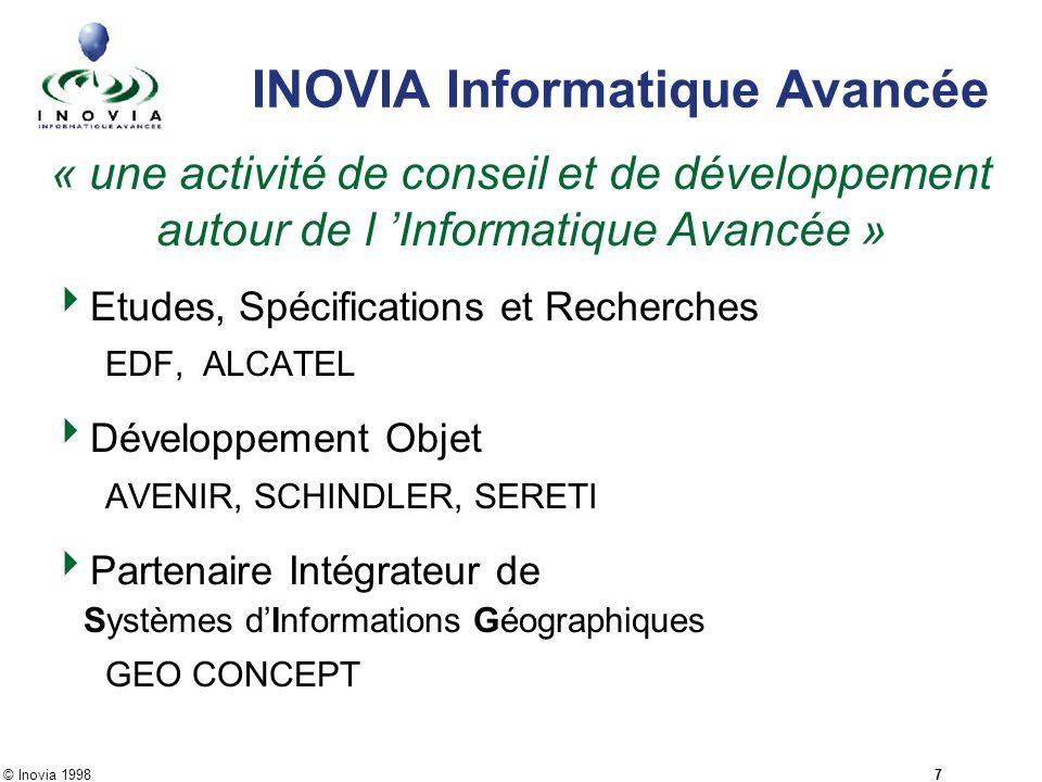 © Inovia 1998 7 INOVIA Informatique Avancée « une activité de conseil et de développement autour de l Informatique Avancée » Etudes, Spécifications et