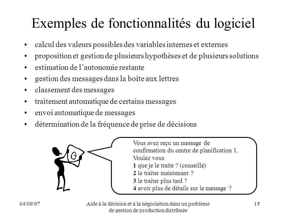 04/09/97Aide à la décision et à la négociation dans un problème de gestion de production distribuée 15 Exemples de fonctionnalités du logiciel calcul