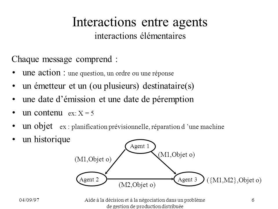 04/09/97Aide à la décision et à la négociation dans un problème de gestion de production distribuée 6 Interactions entre agents interactions élémentai