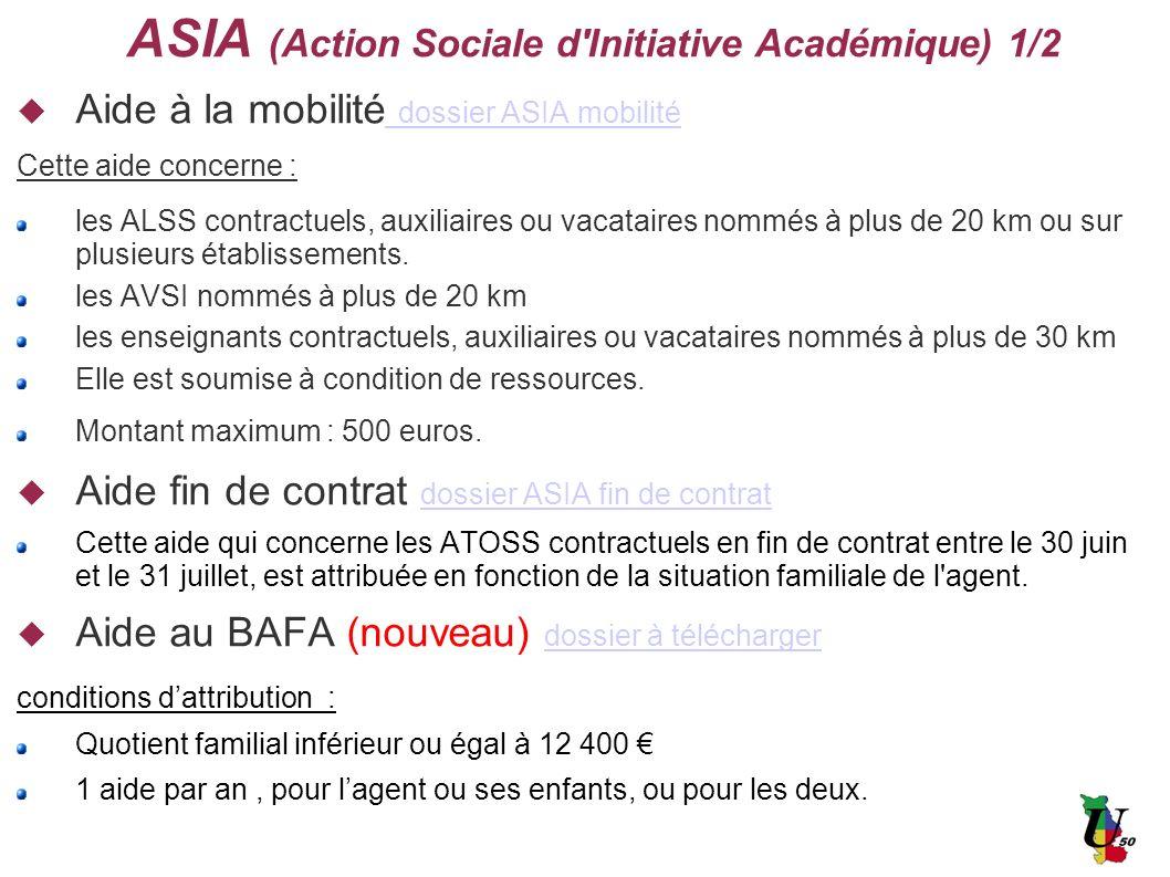ASIA (Action Sociale d'Initiative Académique) 1/2 Aide à la mobilité dossier ASIA mobilité dossier ASIA mobilité Cette aide concerne : les ALSS contra
