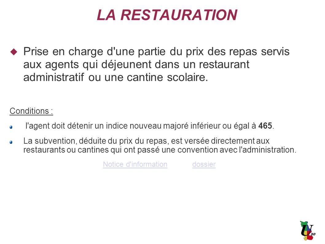 LA RESTAURATION Prise en charge d'une partie du prix des repas servis aux agents qui déjeunent dans un restaurant administratif ou une cantine scolair