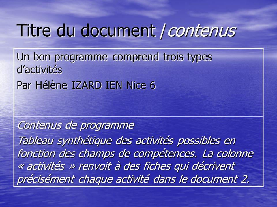 Titre du document /contenus Un bon programme comprend trois types dactivités Par Hélène IZARD IEN Nice 6 Contenus de programme Tableau synthétique des activités possibles en fonction des champs de compétences.